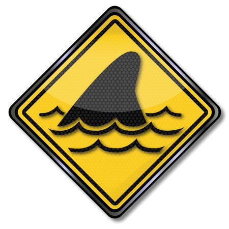 fluke: Sign with shark dorsal fin