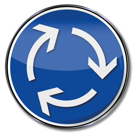 clockwise: Sign clockwise and left-hand traffic