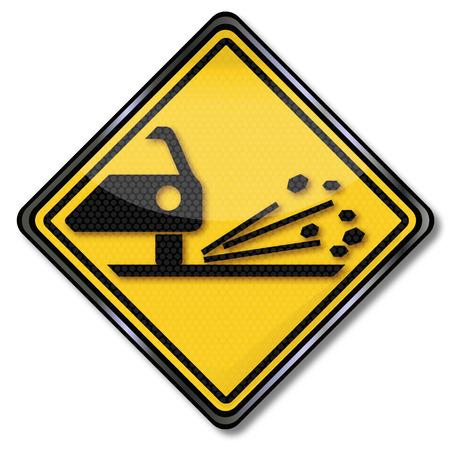 gravel: Sign caution gravel and car paint damage Illustration