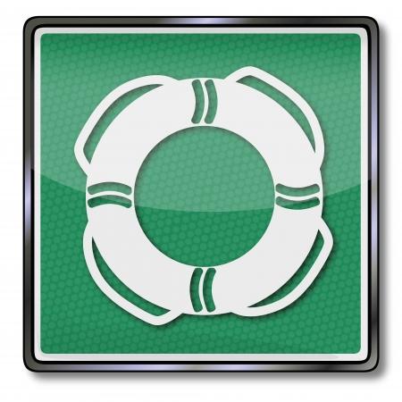 ship wreck: Emergency sign emergency tire, life ring and lifebuoy Illustration