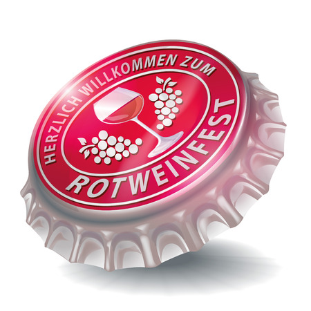 sociability: Bottle cap with red wine festival