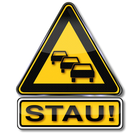 Warning road sign traffic jam Vector