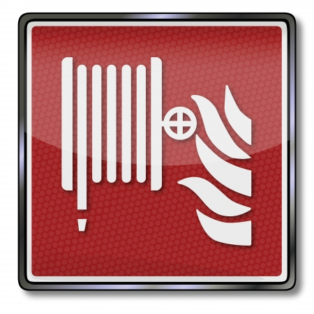 smoke detectors: Fire safety sign fire hose  Illustration