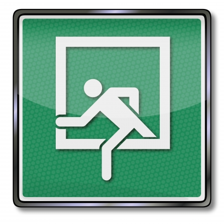 green exit emergency sign: Exit sign emergency exit Illustration