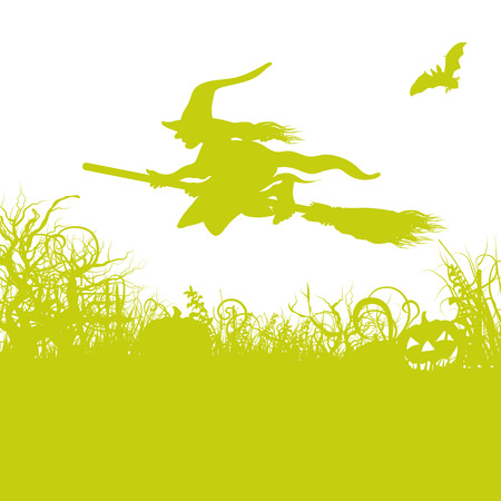 ghostly: Witch on the broom Illustration