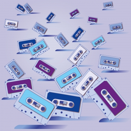 Ornament many cassette tapes and party Vector