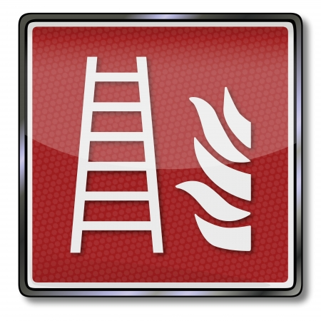smoke detectors: Fire safety sign fire escape Illustration