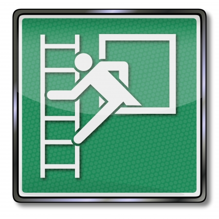 green exit emergency sign: Exit sign emergency exit on the rescue ladder