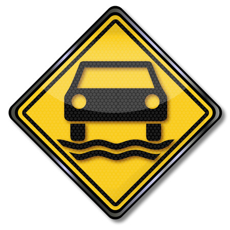 groundwater: Sign car and aquaplaning Illustration