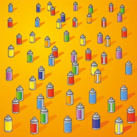 Many small cans and spray cans Vector