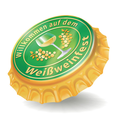Bottle cap with white wine festival