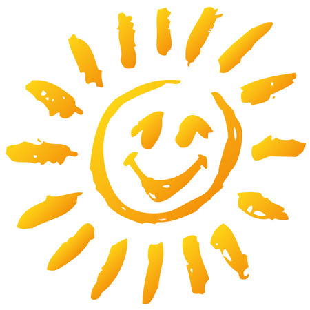 Small funny scribble sun and sunshine Vector