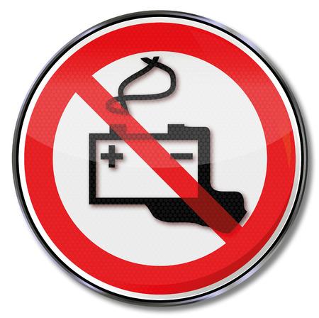 hazardous waste: Segno batteria auto cautela divieto e acido della batteria