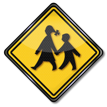 the crossing: Sign school children on the way to school Illustration