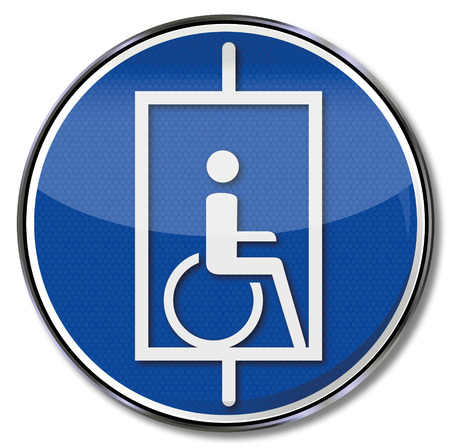wheelchair users: Sign lift for wheelchair users Illustration