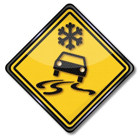 Mountainside: Ostrzeżenie ostrożność znak śnieg i lód Ilustracja