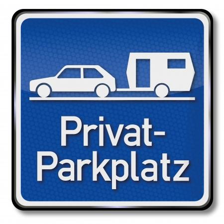 se�al parking: Se�al de aparcamiento privado Azul para caravanas Vectores