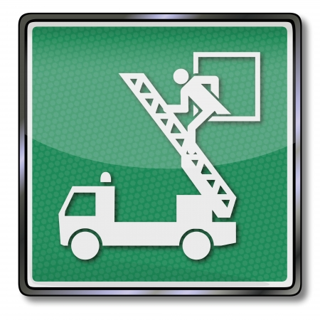 green exit emergency sign: Exit sign emergency exit and fire truck Illustration