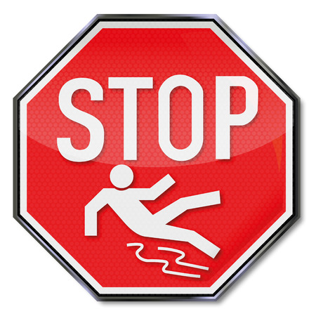 road surface: Warning sign stop slipping