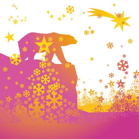 thaw: Bear under a starry sky Illustration