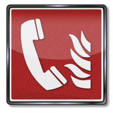 detectors: Fire safety sign fire telephone Illustration