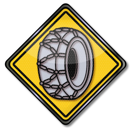 snow chains: Sign snow chains Illustration