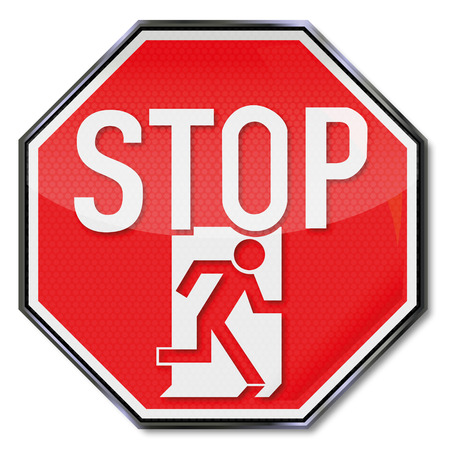 emergency exit label: Stop sign man flees through an emergency exit door