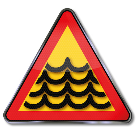 household accident: Sign flood and high tide
