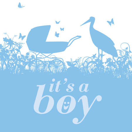 fortunately: Stork and baby carriage with it s a boy Illustration