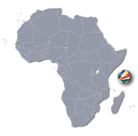 Africa map with Seychelles Stock Illustratie