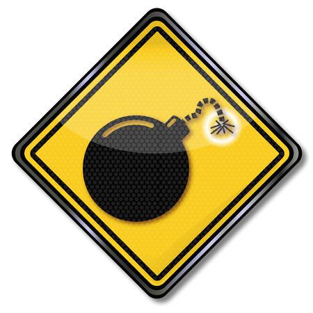 trojans: Hazard symbol bomb and bomb fuse Illustration
