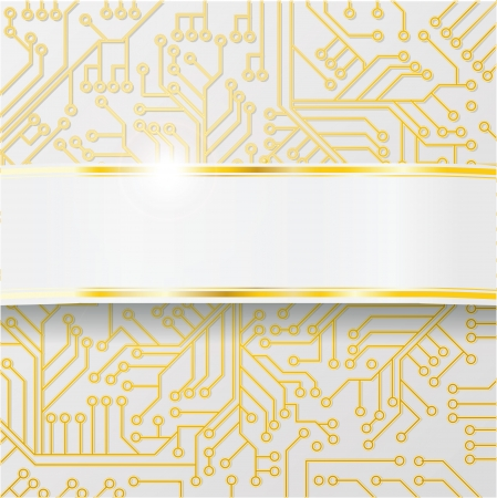 Bright computer circuit board with wiring and golden band Vector