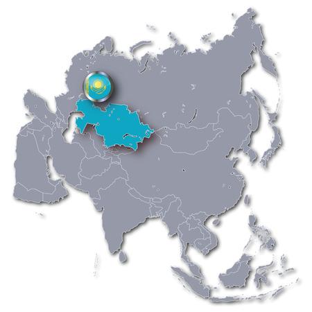 landlocked: Asia map with Kazakhstan