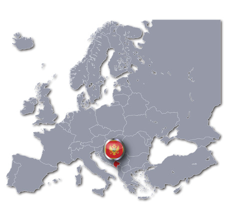 albanian: Map of Europe with Montenegro Stock Photo