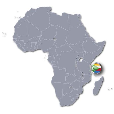comoros: Africa map with Comoros