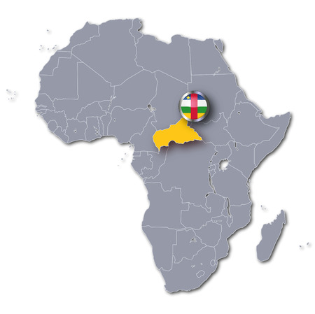 electing: Africa map with Central African Republic