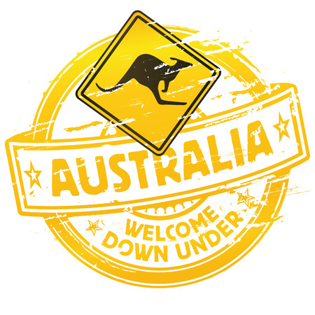 Rubber stamp Australia welcome down under Vector