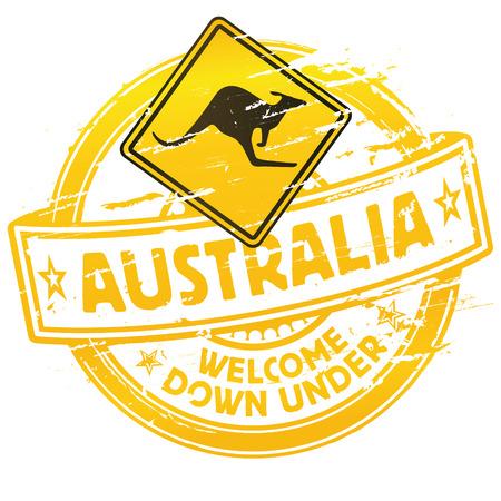 Rubber stamp Australia welcome down under Illustration