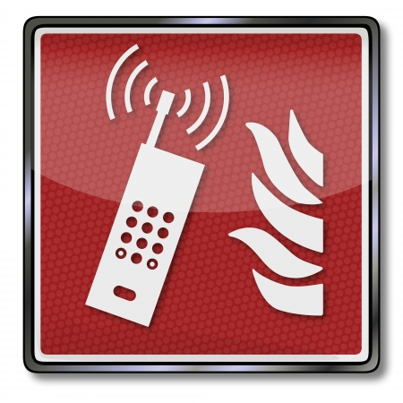 Fire safety sign and emergency call mobile phone Vector