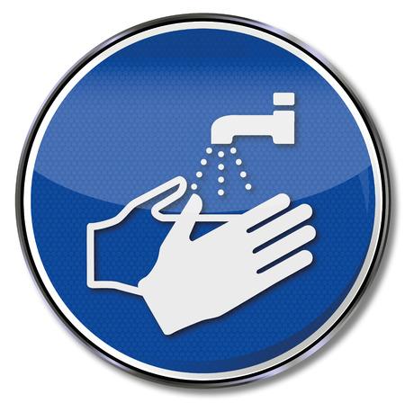 Señal obligatoria por favor siempre lávese las manos Ilustración de vector
