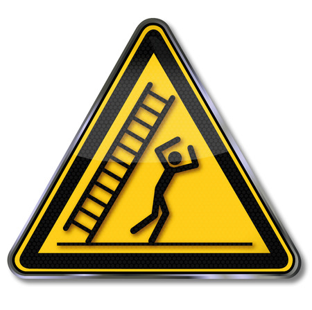 hazardous material: Danger sign caution falling ladder and unhappiness