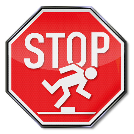 risks icon: Stopsign tripping hazard