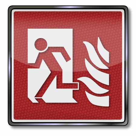 firefighting: Fire safety sign man escapes through a door and fire door