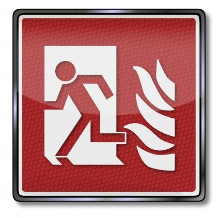 fire ring: Signo de fuego de seguridad hombre escapa a trav�s de una puerta y el fuego