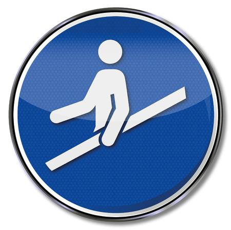 osh: Mandatory sign use handrail Illustration