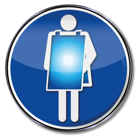 Sign woman with poster to the body Vector