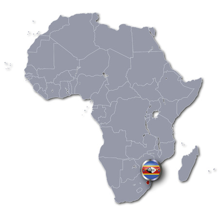 landlocked: Africa map with Swaziland Stock Photo