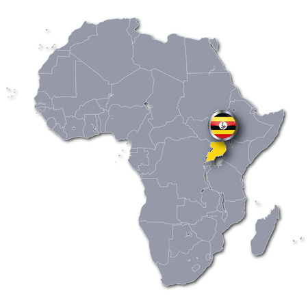 east africa: Africa map with Uganda Stock Photo