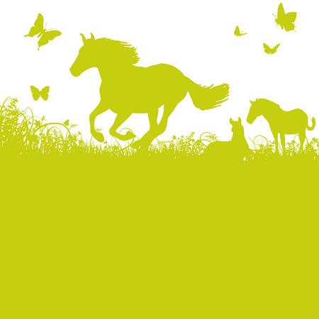 hintergrund herbst: Pferde auf der Weide Illustration