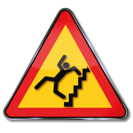 handrail: Warning sign caution steep stairs and crash